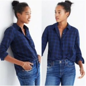 Madewell- Wrap front button plaid shirt